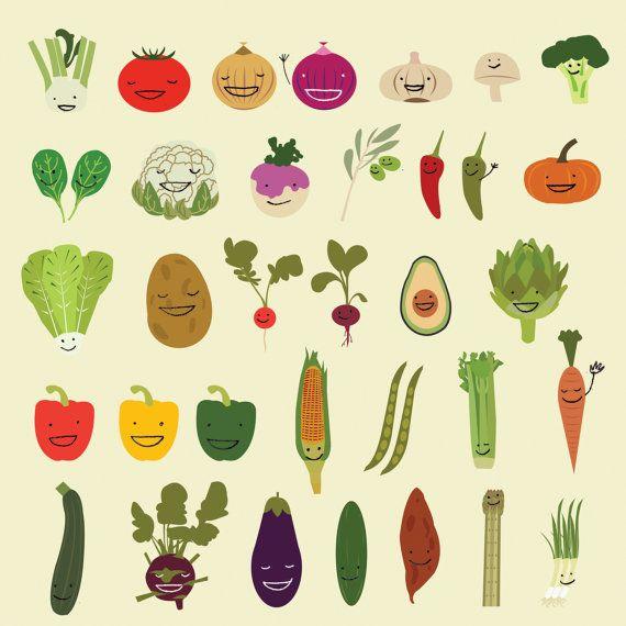 Vegetables Illustration Happy Vegetables