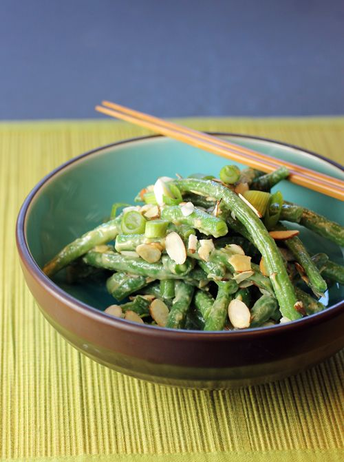 Green beans tossed with creamy miso dressing and crunchy almonds ...