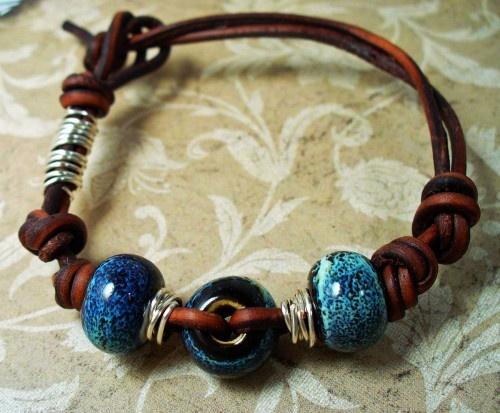 Bohemian Inspired Greek Leather Bracelet w Cobalt Blue Ceramic Beads