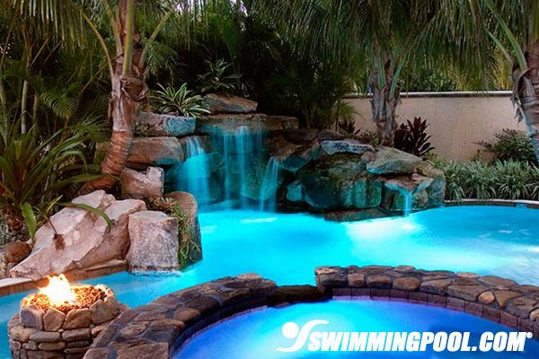 Fire Pit And Waterfall Swimming Pool G A R D E N Pinterest