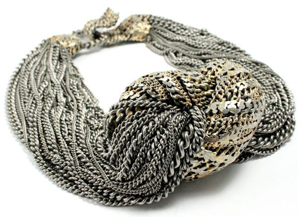 Necklace | Lola Brooks. 'Heartknot'  Stainless steel chain, 14k solder