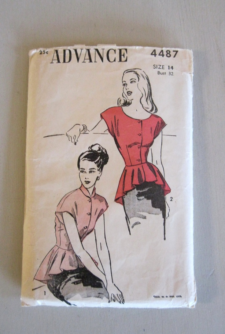 Advance 4487 Misses 1940s Blouse Pattern via Etsy.