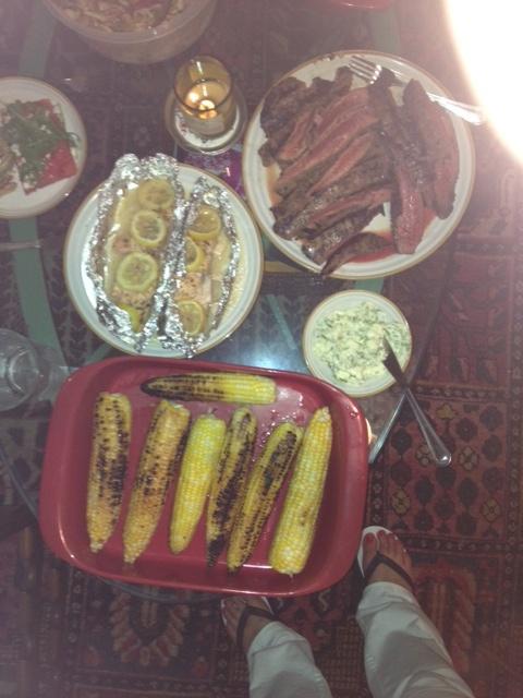 12 Grilled Flank Steak, Grilled Corn, Salmon, Grilled Watermelon Salad ...