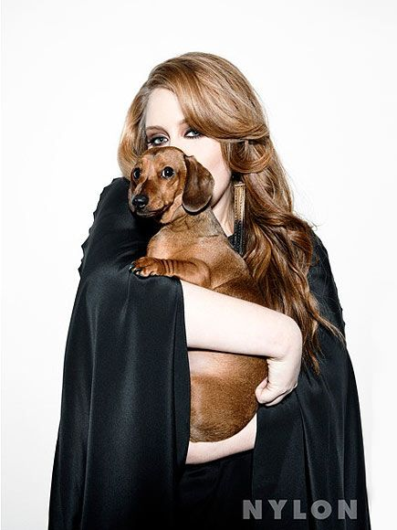 Adele with her dachshund Louie, named for the legendary Louis Armstrong.