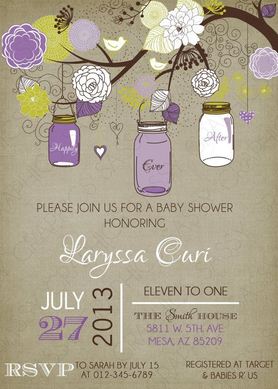girls baby shower invitation mason jar purple green tan printab