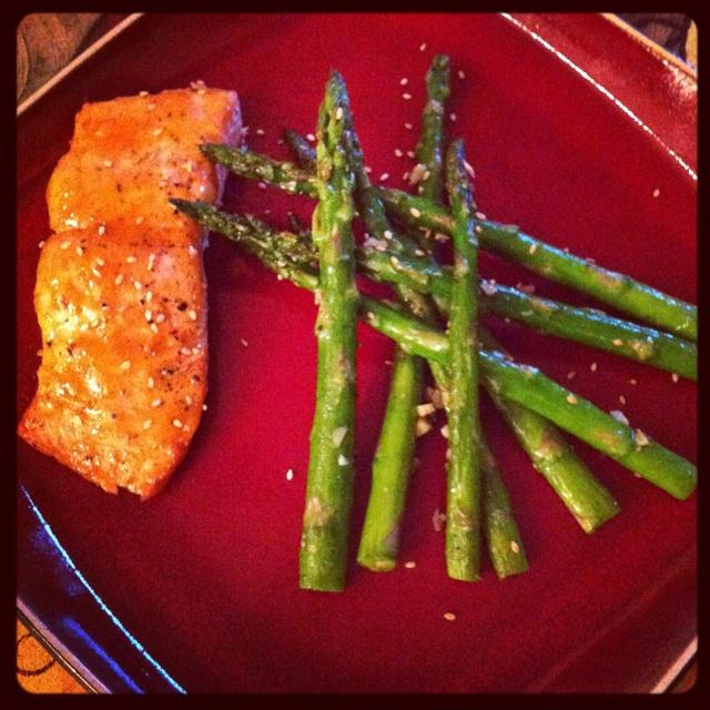 Orange ginger glazed salmon with asparagus
