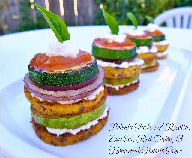 Polenta Stacks w/Ricotta, Zucchini, Red Onion, & Homemade Tomato Sauce ...