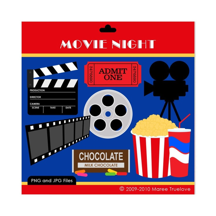 Movie Night Clipart - Digital Clip Art Graphics for Personal or ...