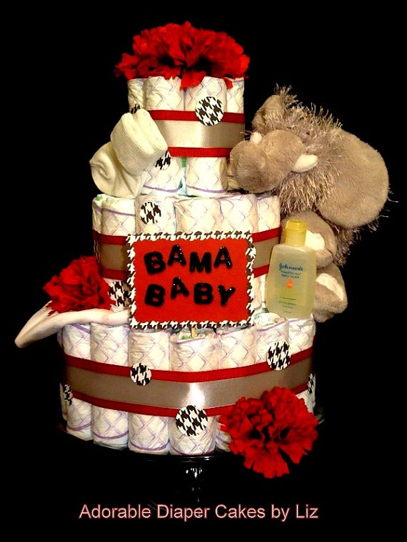 Roll Tide University of Alabama 3-tier baby shower diaper cake