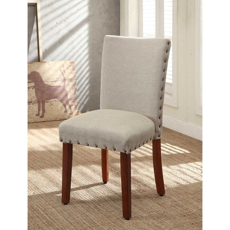 Tan nail head parsons chairs set of 2 for Dining room head chairs