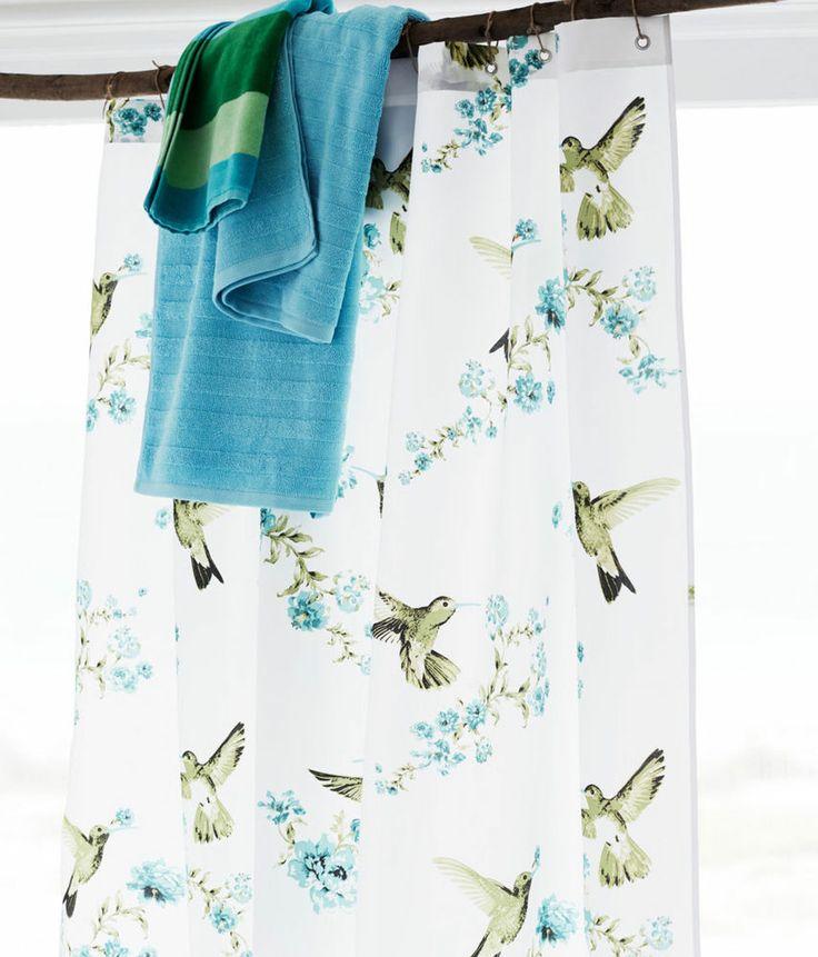 BIRDS FLORAL* WHITE BLUE GREEN SHOWER CURTAIN BNWT 180X200cm