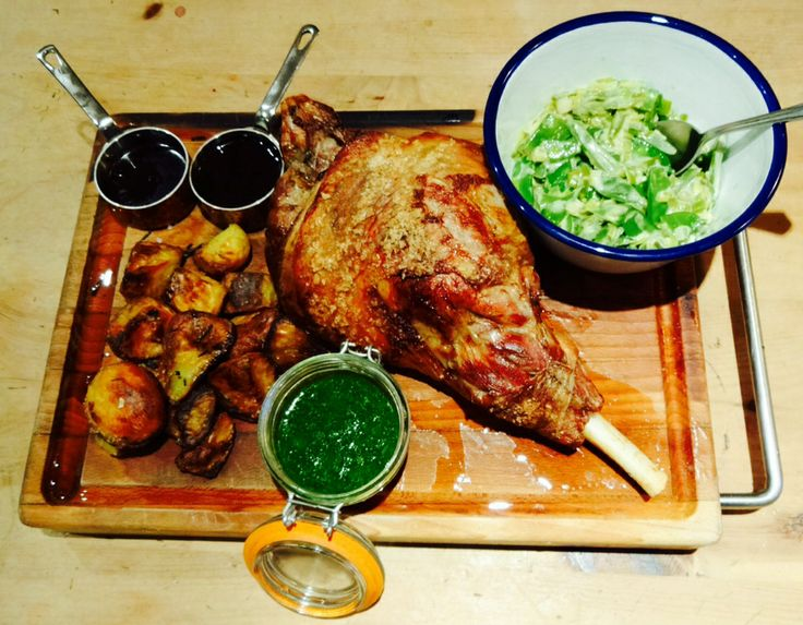 Roast leg of lamb, duck fat rosemary & garlic roasties, creamed leeks ...