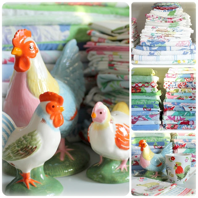 Vintage tablecloths and chickens! :)