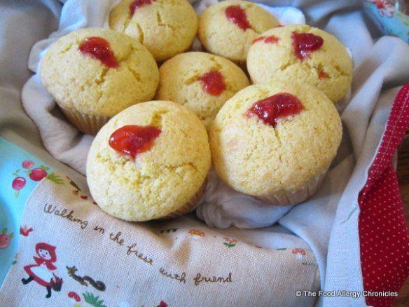 ... /Tree Nut Free Homemade Strawberry Jam Filled Lemon Cornmeal Muffins