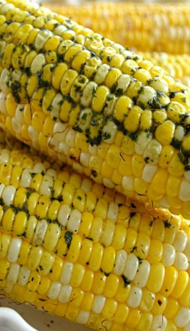 Grilled Corn on the Cob with Basil Butter | Recipe