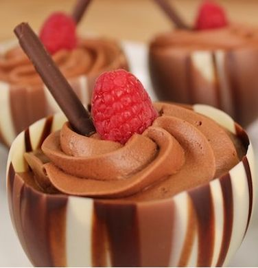 chocolate/raspberry mousse cup | Food | Pinterest