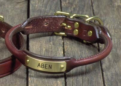 Rolled Leather Dog Collars With Nameplate