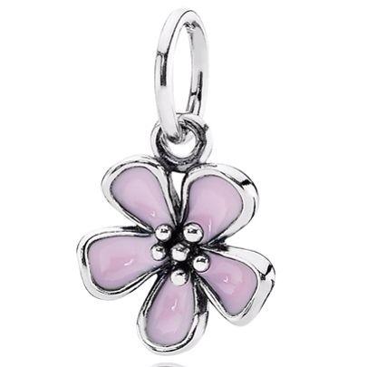 Pink enameled flower pendant sterling silver pandora