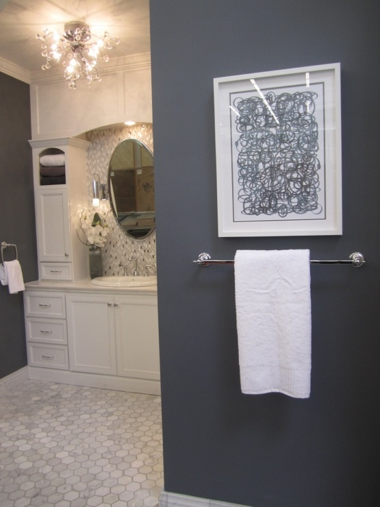 Cream gray bathroom for the home pinterest What color to paint bathroom with gray tile