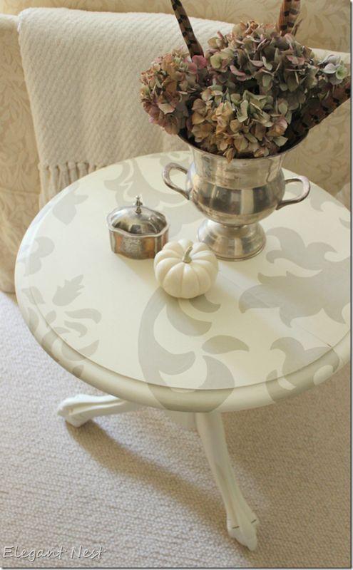 tone on tone hand painted table via Elegant Nest...