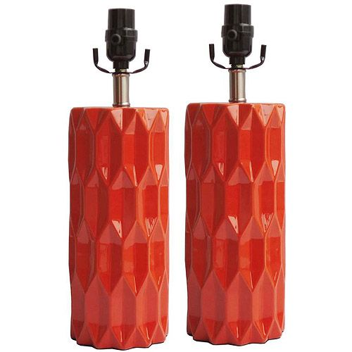 Better Homes and Gardens Table Lamp, Orange Faceted, Set of 2: Decor : Walmart.com