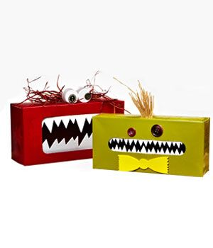 Tissue box gobble monsters. Kids can whisper secrets to them or stick messages inside. The monster can gobble up bad dreams, etc.