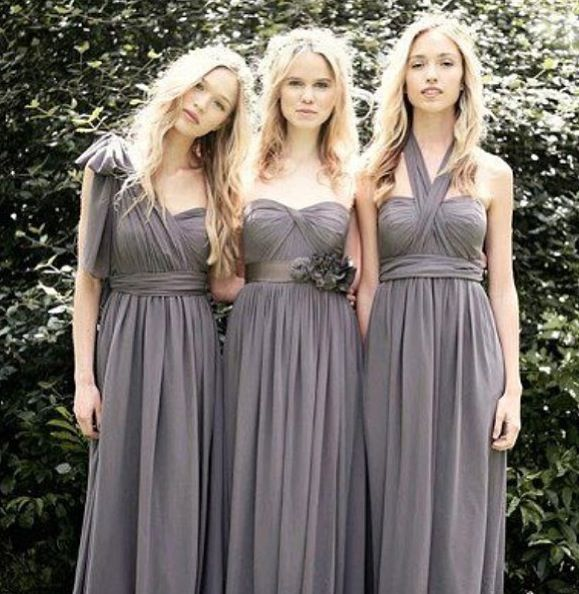 Bridesmaid dresses in charcoal wedding ideas pinterest for Charcoal dresses for weddings