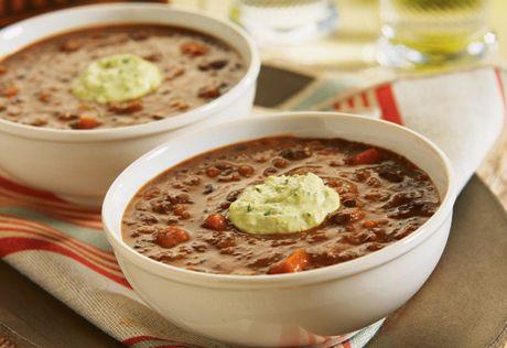 Chipotle black bean soup with avocado cream. Black bean soup takes a ...