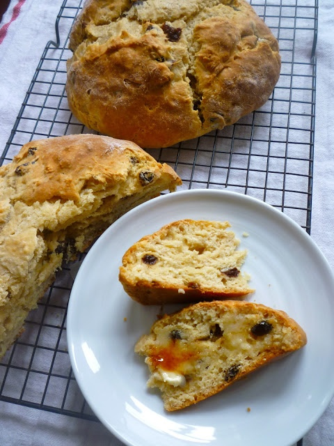 Irish Soda Bread with Whiskey Soaked Raisins and Whiskey Butter Syrup
