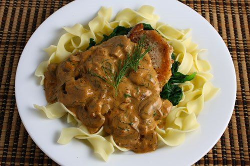 Reipe: Pork chops with mushrooms, dill, and sour cream sauce