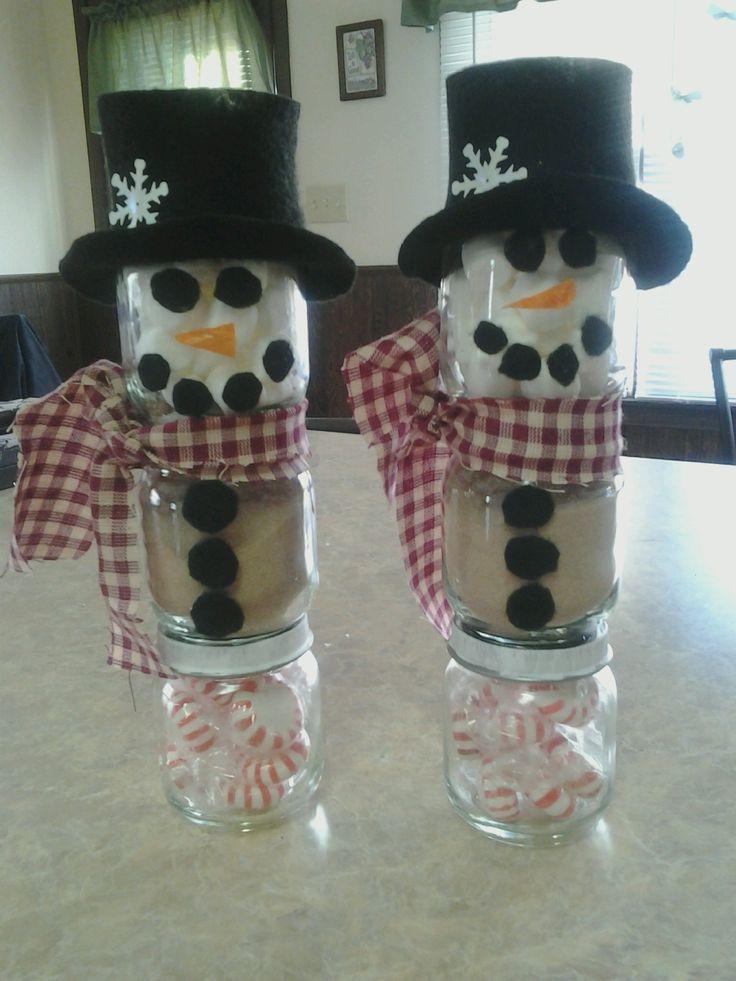 Baby food jar snowmen crafts baby food jars pinterest for Baby food jar crafts pinterest