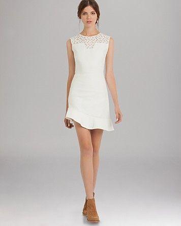 Maje Dress - Lace Inset Asymmetric Hem | Bloomingdale's