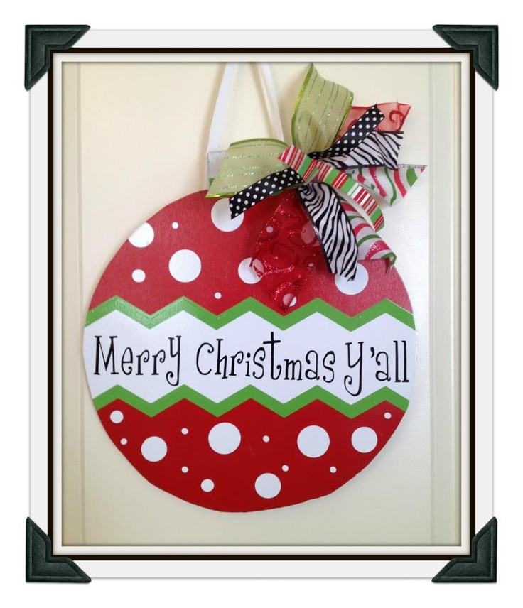 Wooden Christmas ornament door hanger. Can be personalized with ...