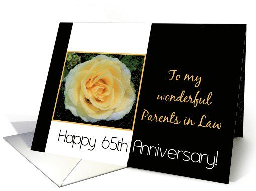 65th Wedding Anniversary Gift For Parents : 65th Wedding Anniversary card for Parents in Law - Yellow Rose card