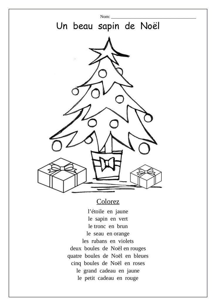 French Christmas coloring sheet; following directions using vocab ...