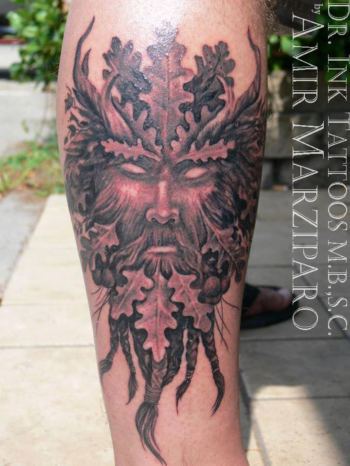 green man tattoo by amir marziparo tattoo pinterest. Black Bedroom Furniture Sets. Home Design Ideas
