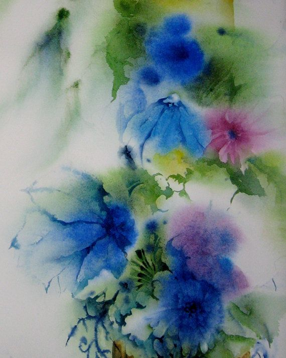 Watercolor print of original abstract flower painting for Abstract watercolour flowers