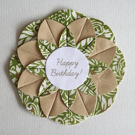 green swirls origami happy birthday card cards pinterest