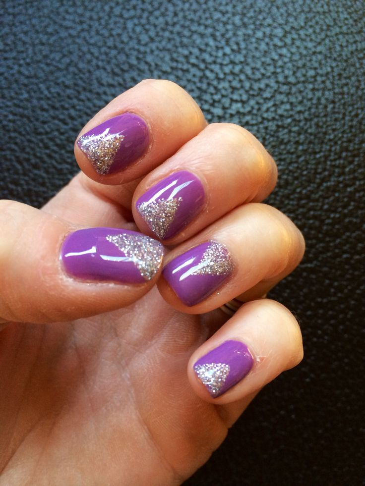 Purple nails. Gel polish. Gel design. Glitter