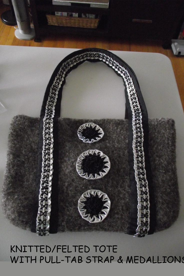 This is my finished tote the base is knitted amp then felted the