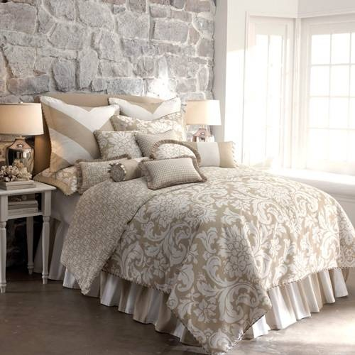 Taupe And White Cotton King Bedding Dream Home Pinterest