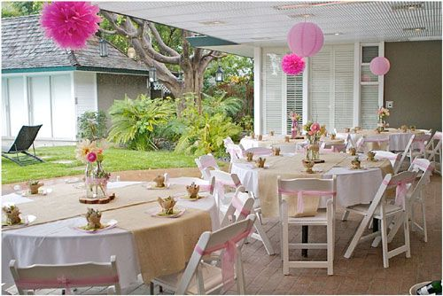 Pink white elegant baby shower outdoor a baby shower for for Backyard baby shower decoration ideas