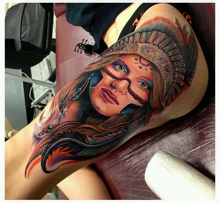 Native american girl tattoo my style pinterest for Native american woman tattoo