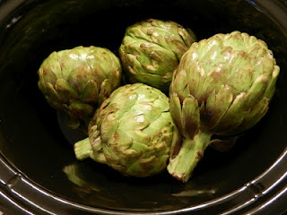 "Steamed"" Artichokes in the crockpot 