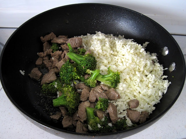 "Beef and Broccoli with Cauliflower ""Rice"""