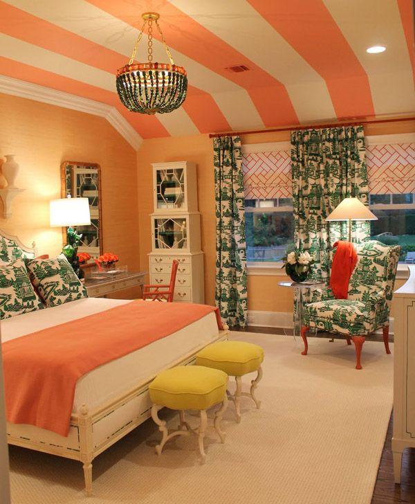 Striped ceilings. Love this whole room