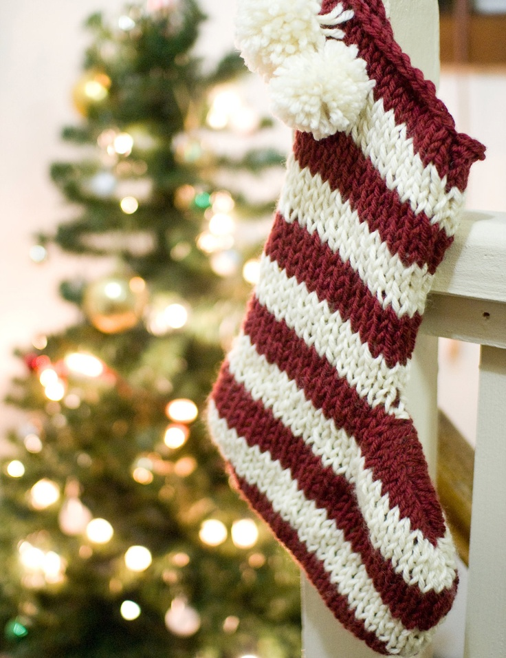 Christmas Stocking Pattern Knit : Knitted Christmas stocking pattern feliz navidad Pinterest
