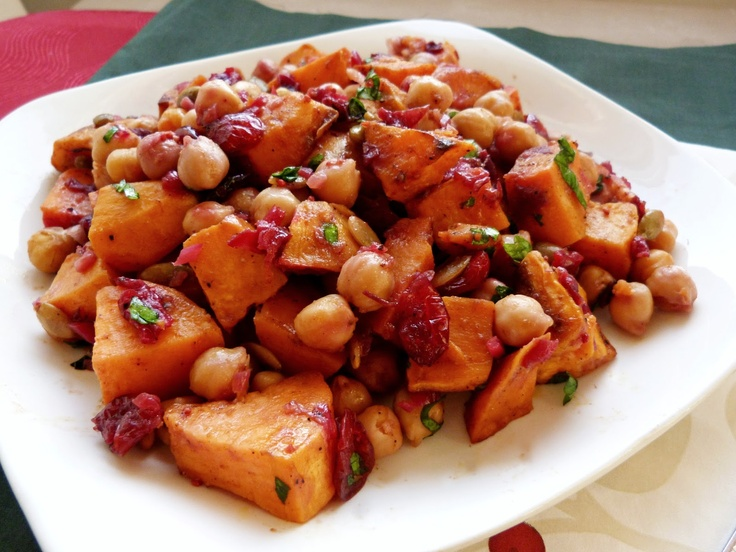 ... Sweet Potato & Chickpea Salad with Warm Cranberry Chutney Dressing