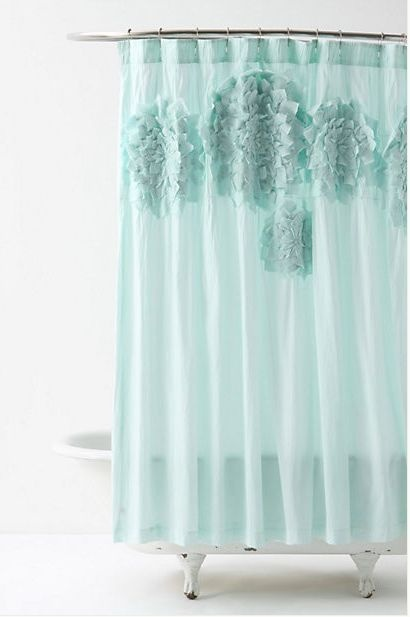 Anthropologie Sculpted Mums Shower Curtain Nip Appliqued Petals Bathr