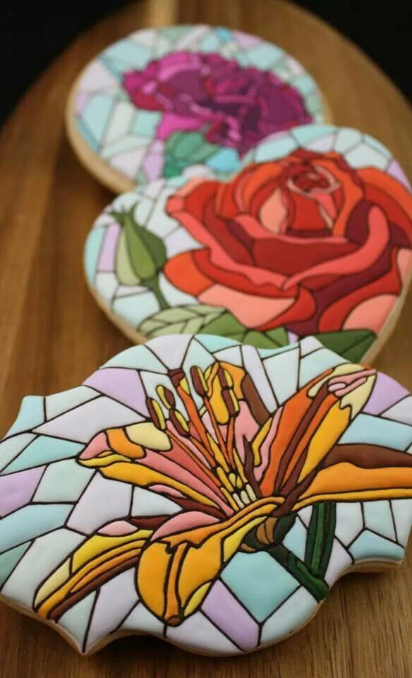 Stained Glass Flower Cookies | Everything Cakes and Flowers | Pintere ...